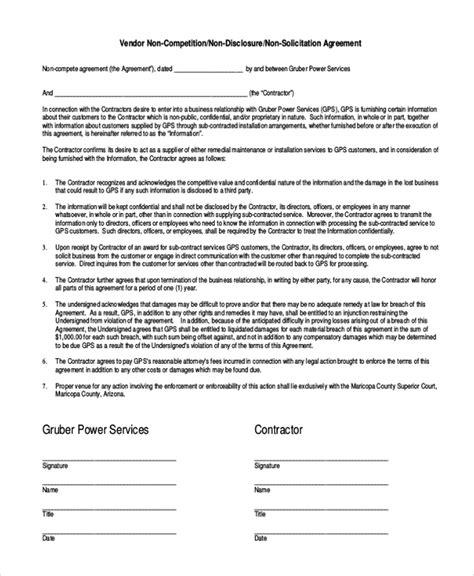 10 Vendor Non Compete Agreement Template Free Sle Exle Format Free Premium Templates Standard Non Compete Agreement Template