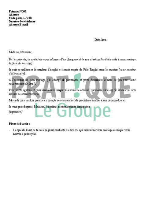 lettre d information d un changement de situation pour p 244 le emploi mariage pratique fr