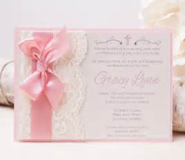 20 gracy lace invitation pink baptism invitation