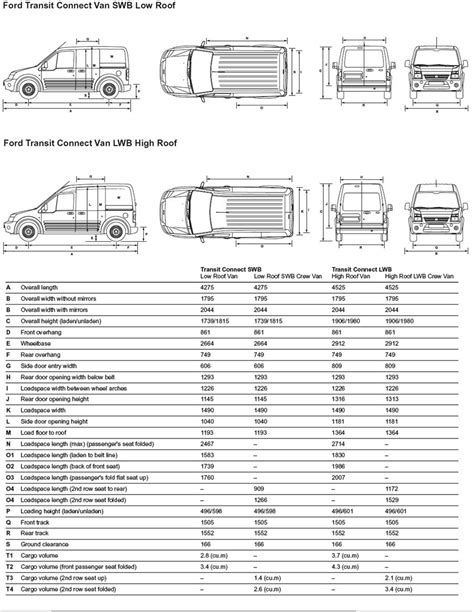 Ford Transit Interior Dimensions by Ford Transit Connect Lwb High Roof Dimensions Car