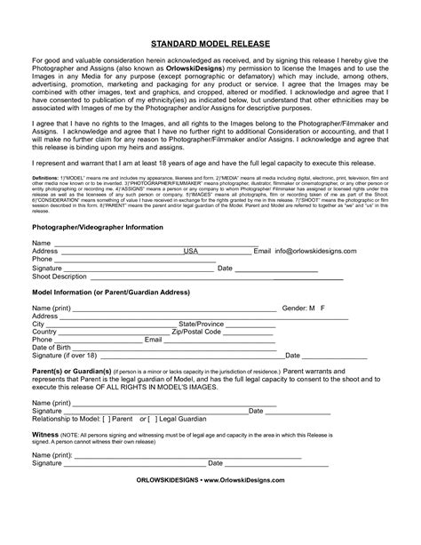 standard model release form template best photos of standard photo release form standard