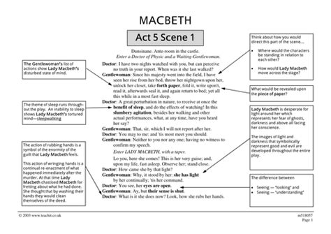 themes of macbeth act 1 scene 1 macbeth act 5 scene 1 ofsted outstanding lesson by