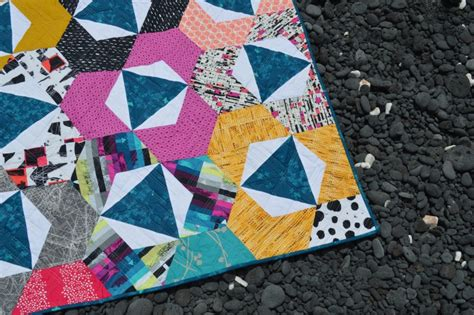 Modern Hexagon Quilt Patterns by Trillium Hexagon Quilt Pattern Is Here Color