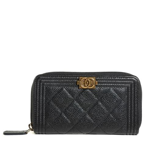 Chanel Zp chanel caviar quilted boy small zip around wallet black 111107