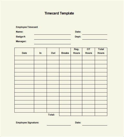 Time Card Template Free Employee free time card template emetonlineblog