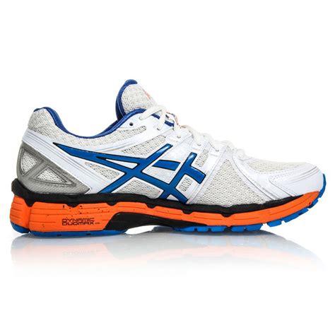 blue and orange running shoes asics gel kayano 19 size 15us mens running shoes white