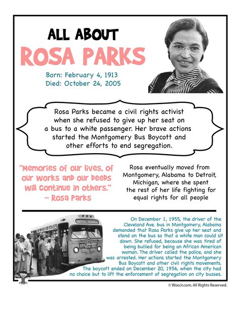 biography black history facts rosa parks fact sheet black america pinterest rosa