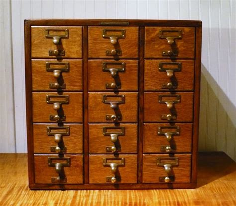 antique oak 15 drawer library bureau sole makers card catalog