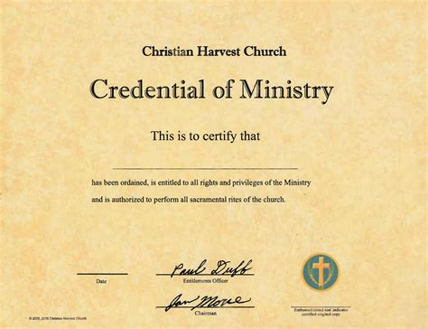 Best Photos Of Ordination Papers Template Bishop Ordination Certificate Sle Minister Minister License Template