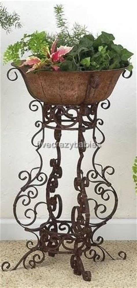 Standing Planters For Patios by Details About Wrought Iron Scrollwork Floor Planter Plant