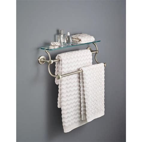 bathroom shelf with towel bar brushed nickel delta 18 in double towel bar in brushed nickel with glass