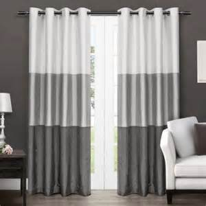 Curtains 64 Length Exclusive Home Chateau Striped Faux Silk Grommet Top Window Curtain Panels 54 Quot X 96 Quot Black