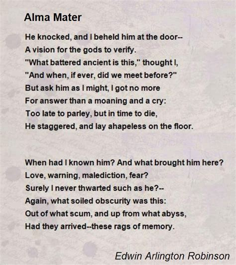 Cover Letter For At Alma Mater Alma Mater Poem By Edwin Arlington Robinson Poem