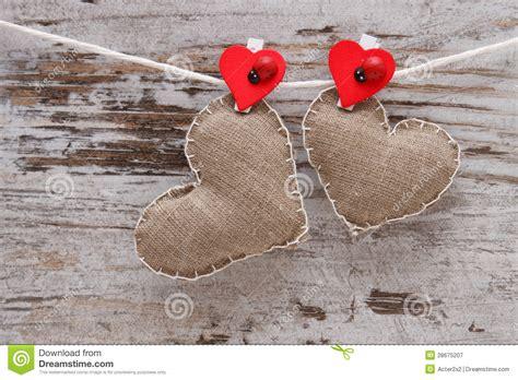 Handmade Hearts - canvas handmade hearts royalty free stock photography