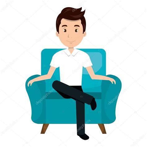 cartoon sitting on couch avatar man cartoon sitting on couch stock vector