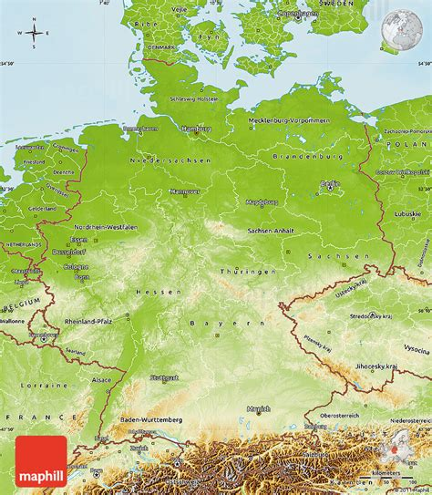 germany geographical map geographical map of germany