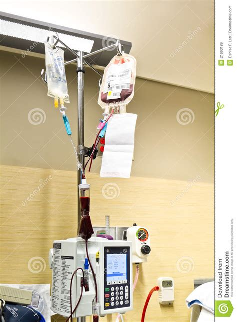 pouch hp hang by lood blood transfusion and saline solution iv royalty free