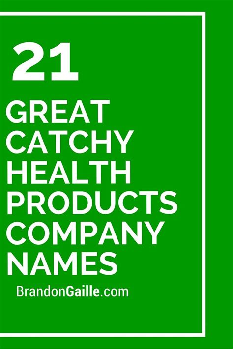 great catchy health products company names company names products  health products