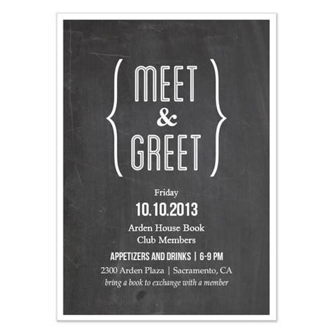 Meet And Greet Chalkboard Invitations Cards On Pingg Com Meet And Greet Flyer Template