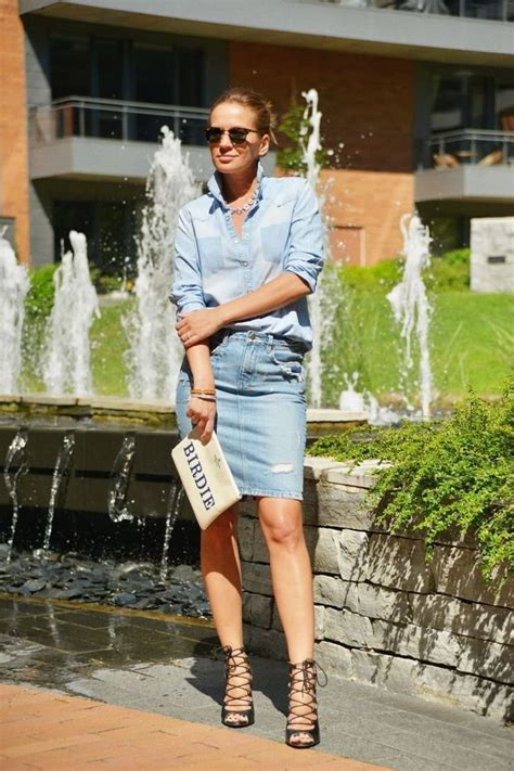 13 different ways to wear a denim pencil skirt
