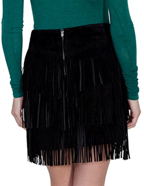 scully western skirt womens suede tiered fringe zip mini