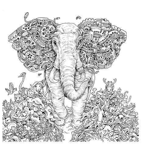 printable elephant coloring page for adults elephant adult coloring page az coloring pages