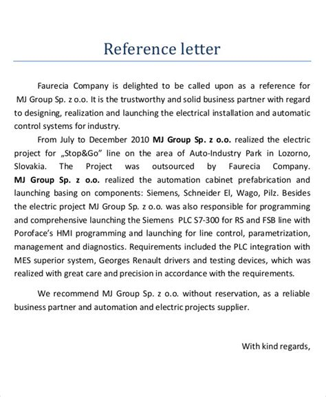 Business Partnership Reference Letter 17 business reference letter exles pdf doc
