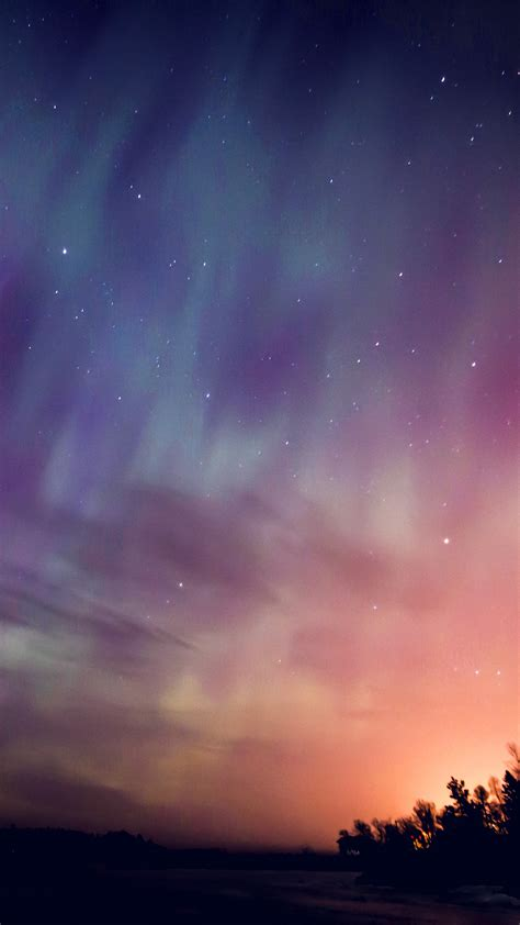 nn space aurora night sky red color wallpaper