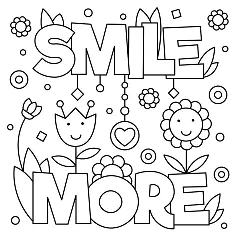 smile more quote free coloring page general kids