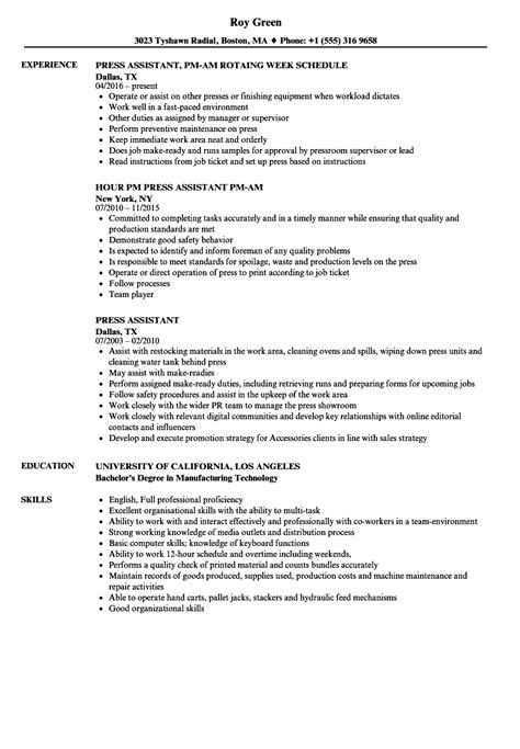 Press Assistant Sle Resume press assistant resume sles velvet