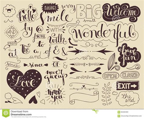 design elements words handlettering elements and words stock vector