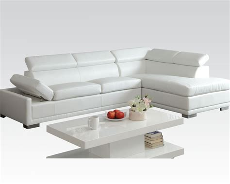 acme sectional sofa acme furniture white sectional sofa cleon ac51165