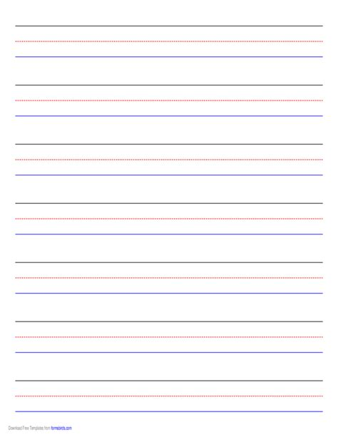 Job Resume Pdf Format by Penmanship Paper 7 Colored Lines Landscape Free Download