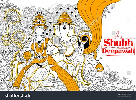 doodle god india illustration goddess lakshmi lord ganesha on stock vector