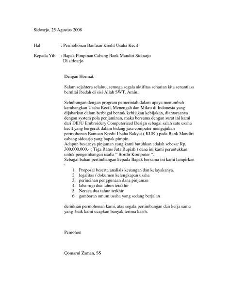 contoh surat pengajuan permohonan kredit pinjaman 2017