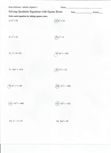 Solving Quadratic Equations Worksheet With Answers by Simplify Square Roots Worksheet Mad Math Multiplication