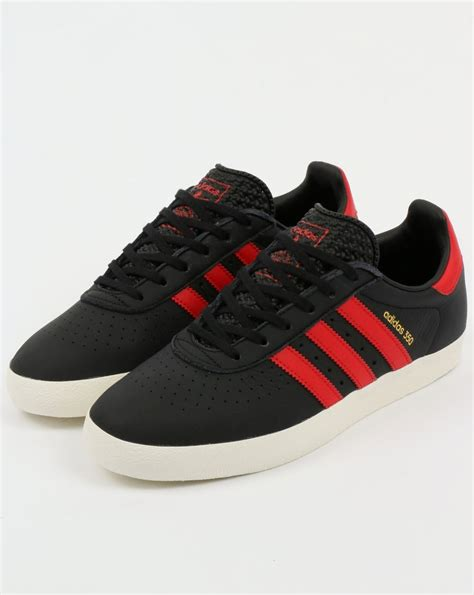 adidas  trainers black red scarlet leathershoes