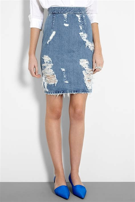 acne distressed denim skirt my style pinboard