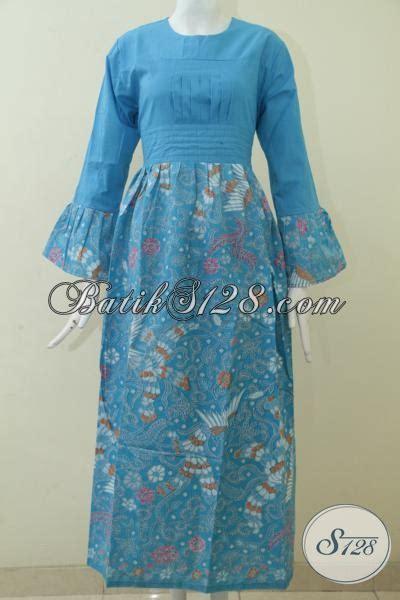 desain baju batik berhijab jual baju batik gamis biru model terbaru pakaian batik