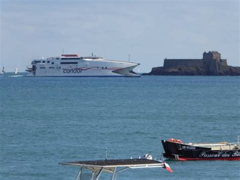 boat trip jersey to france condor ferry returning from jersey to saint malo picture