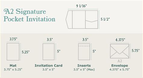 A2 Size Card Template by A2 Signature Pocket Invitation Sizing Print Dimensions