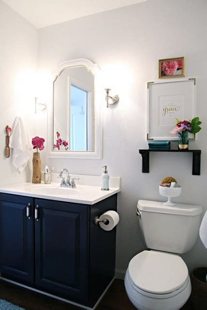 Decorating Ideas Above Toilet Bathroom Makeover Via I Organizing Painted Vanity