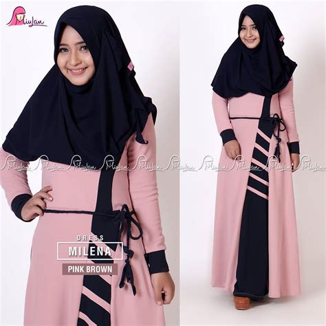 Syari Bergo Maroon Soraya milena dress pink brown miulan boutique
