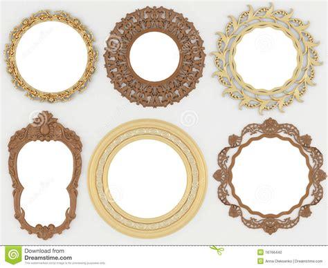 cornici rotonde oro dell annata e cornici rotonde vuote di legno