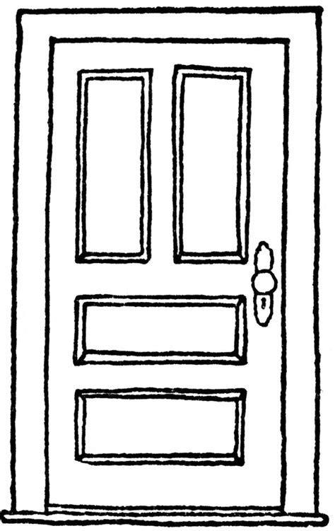 black and white door clipart clipartxtras