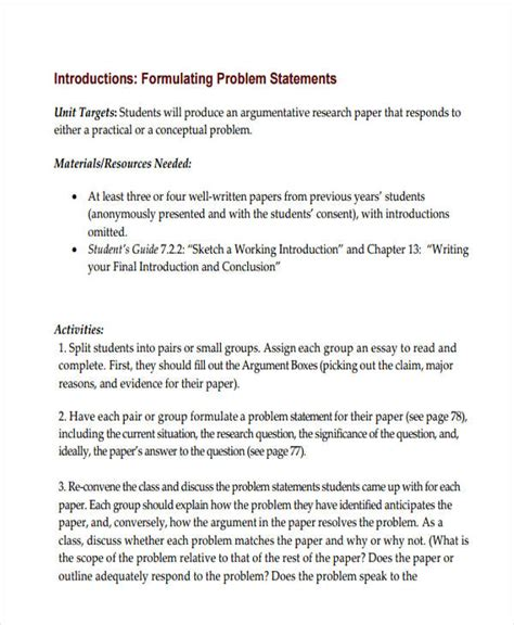 problem statement in a research paper 6 problem statement exles sles pdf