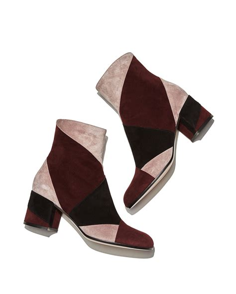 Patchwork Shoes - lyst gianvito angled patchwork suede ankle boot in