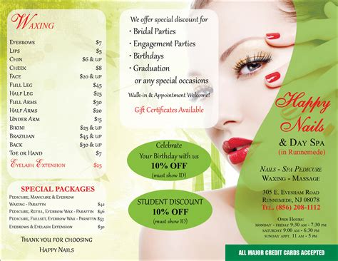 salon brochure hair nail spa printing