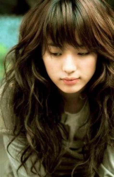 long bangs hairstyles pinterest cute korean long soft wavy hairstyles with bangs hair for