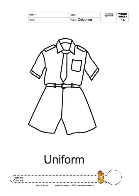 school uniforms colouring pages